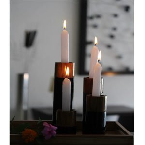 Natural Wood Candle Stand (Set of 4)