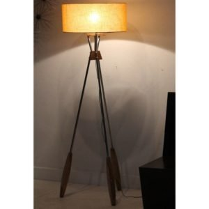 Floor Lamp Steel & Wood Combination