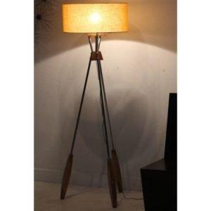 Floor Lamp Steel & Wood Combination
