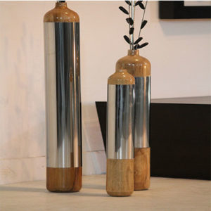 Floor Vase Wood & Steel Combination (Set of -3)