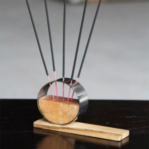 Wood & Steel Incense Stand