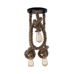 Rope Knot Pendant Lamp Triple Light