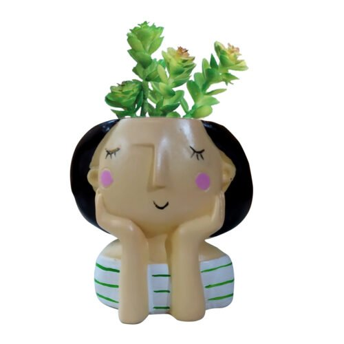 Blue check Doll with plant
